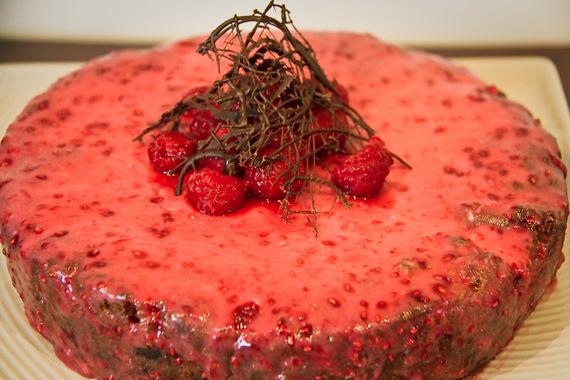 Raspberry dark choc chip sour cream cake