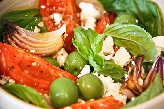 Roast tomato olive feta salad